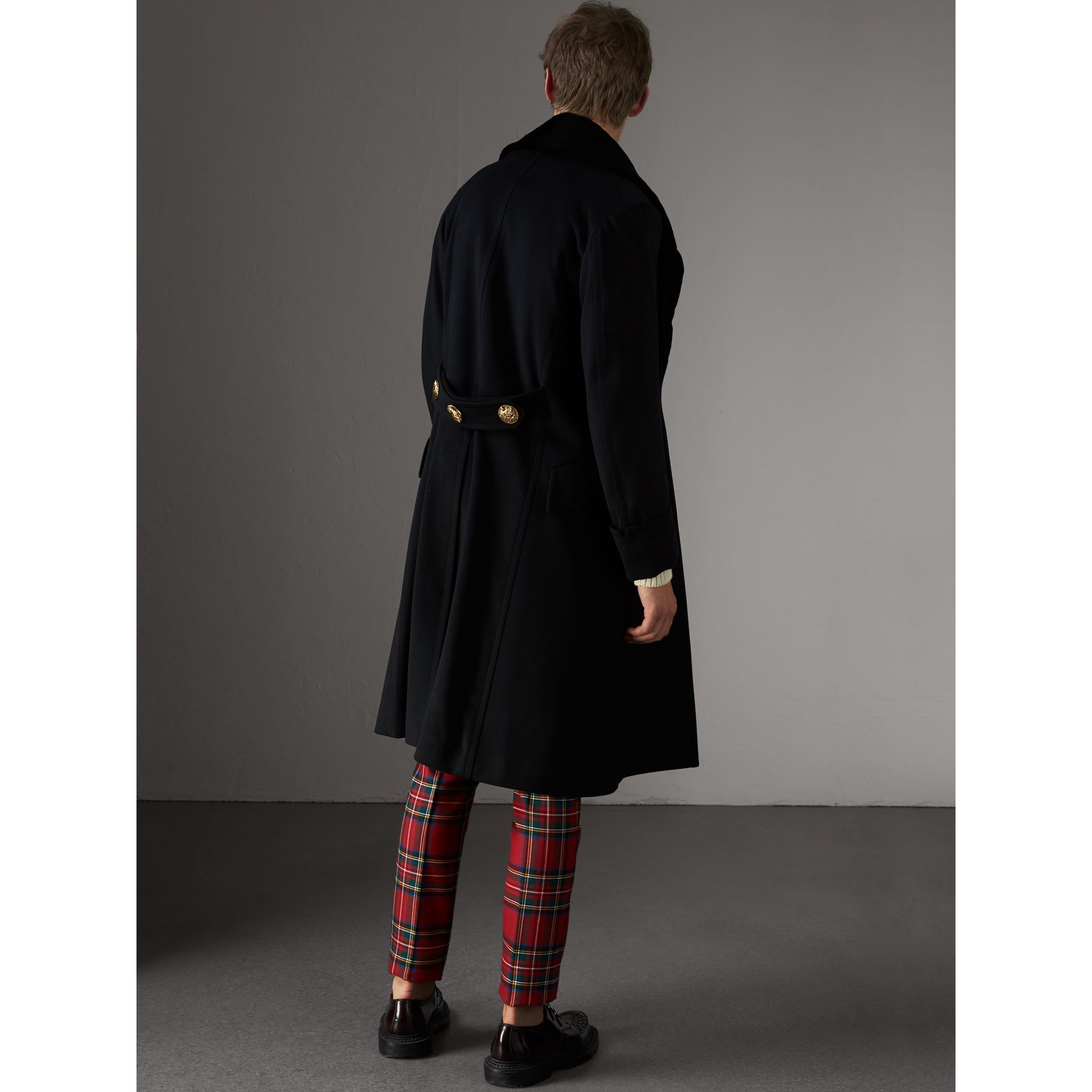 Detachable Mink Collar Cashmere Wool Greatcoat in Black - Men | Burberry United Kingdom - gallery image 2