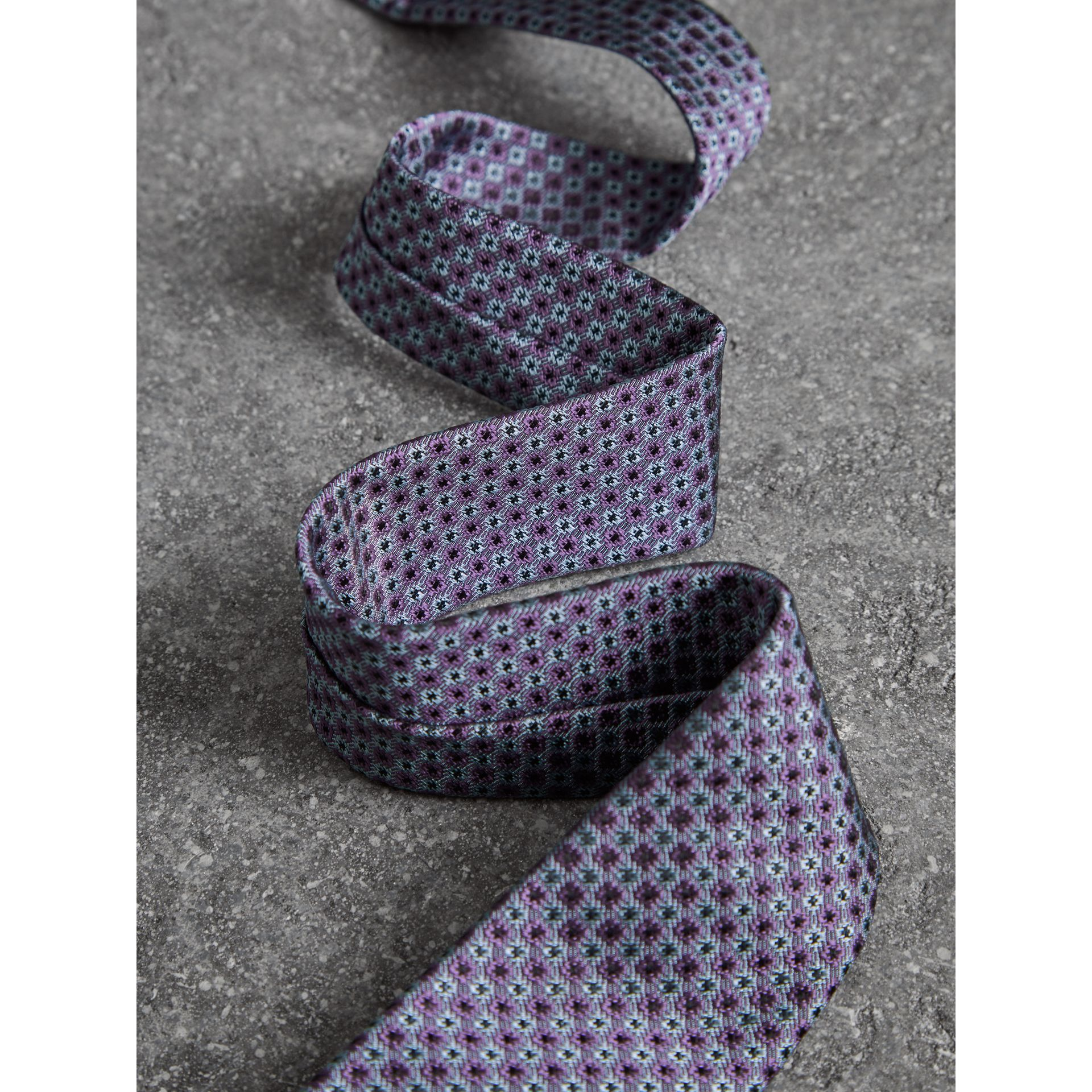 Slim Cut Daisy Silk Jacquard Tie in Lilac - Men | Burberry - gallery image 1