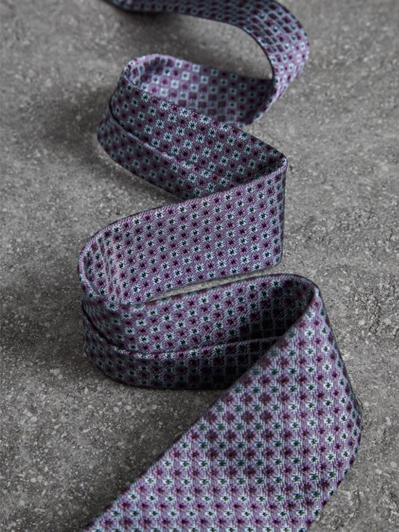 Slim Cut Daisy Silk Jacquard Tie in Lilac - Men | Burberry Canada - cell image 1
