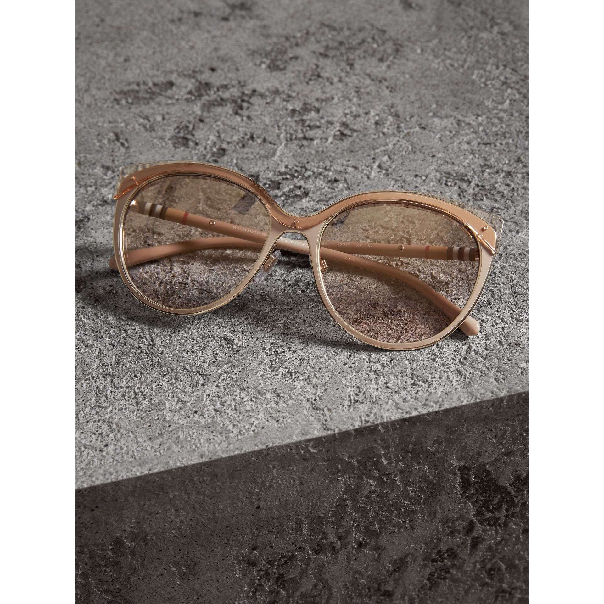 Two-tone Cat-eye Frame Sunglasses in Light Brown - Women | Burberry United Kingdom - gallery image 2