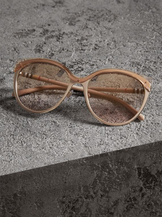 Two-tone Cat-eye Frame Sunglasses in Light Brown - Women | Burberry United Kingdom - cell image 2