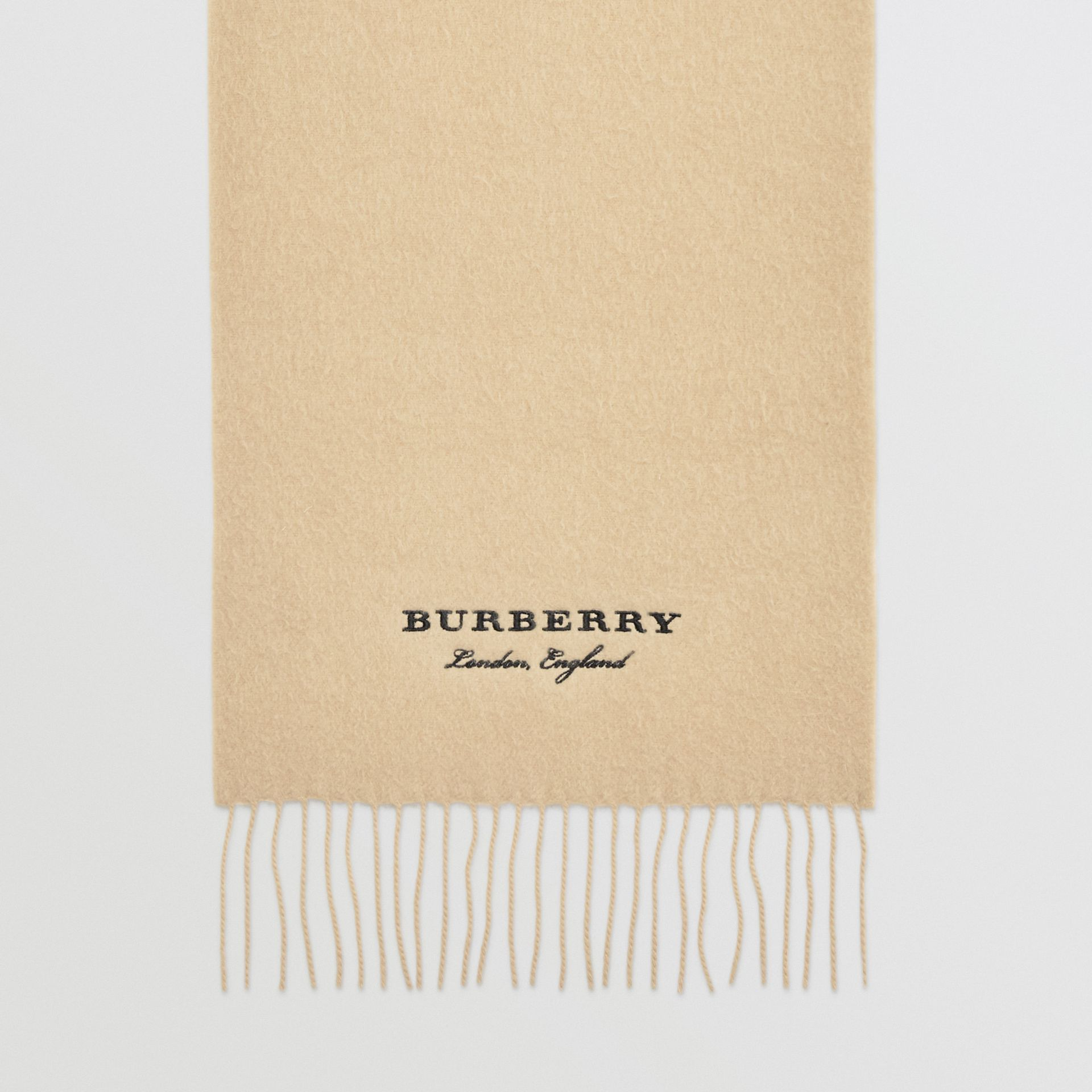 Embroidered Cashmere Fleece Scarf in Pale Nude | Burberry - gallery image 2