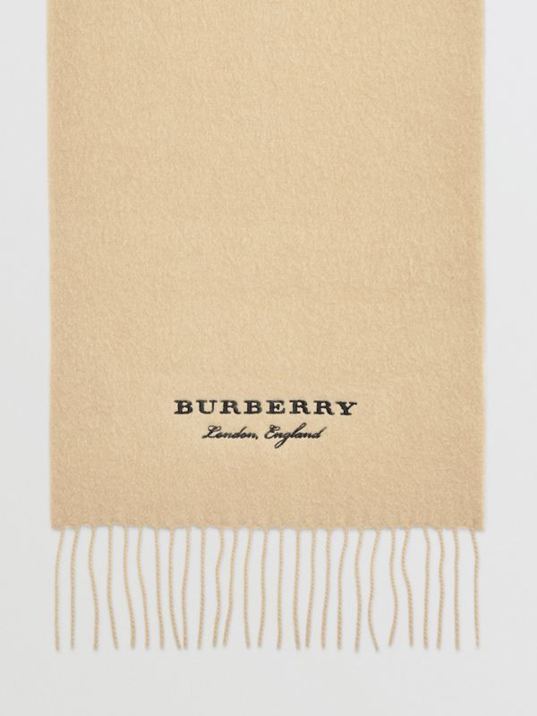 Embroidered Cashmere Fleece Scarf in Pale Nude | Burberry Australia - cell image 2