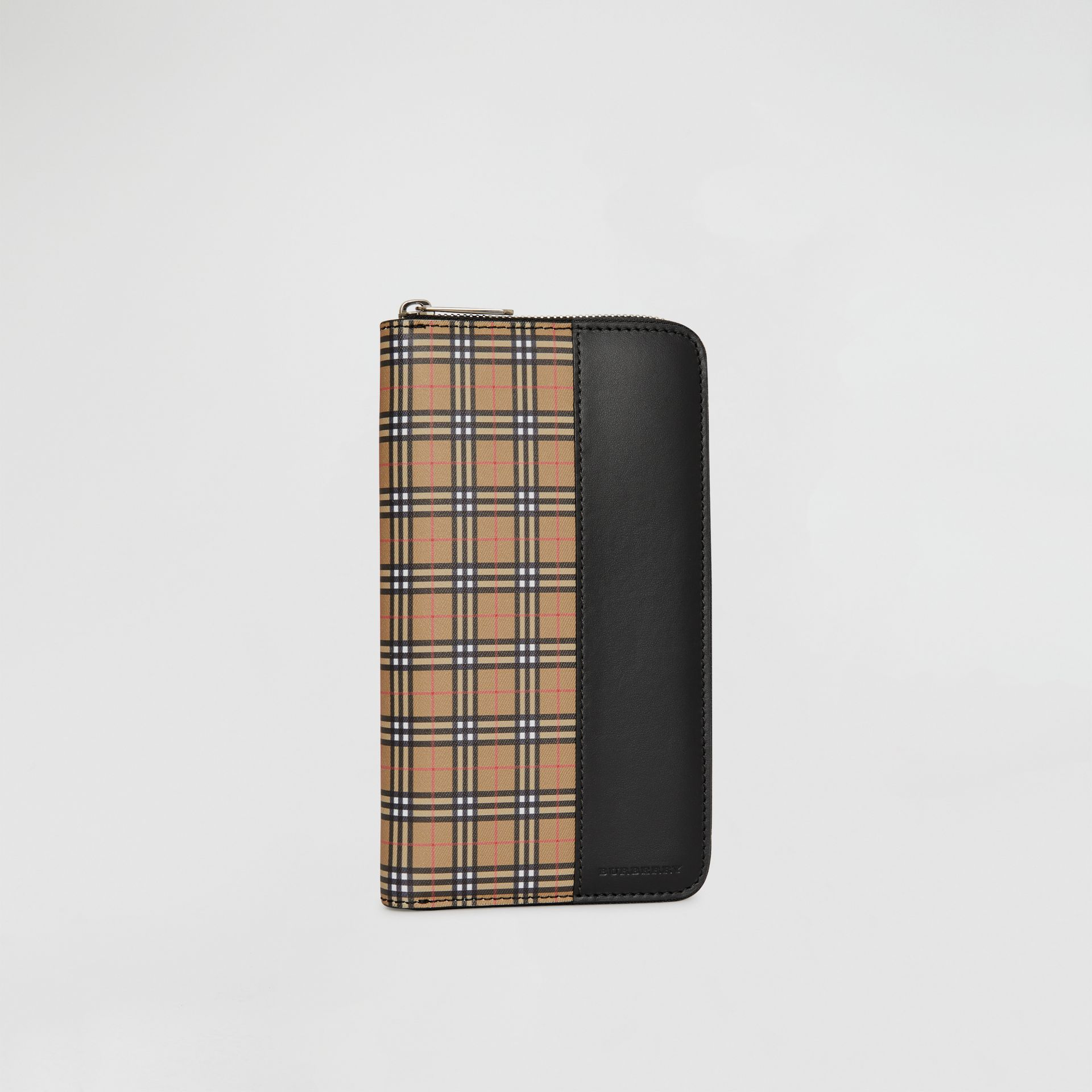 Small Scale Check and Leather Ziparound Wallet in Antique Yellow/black - Men | Burberry - gallery image 4