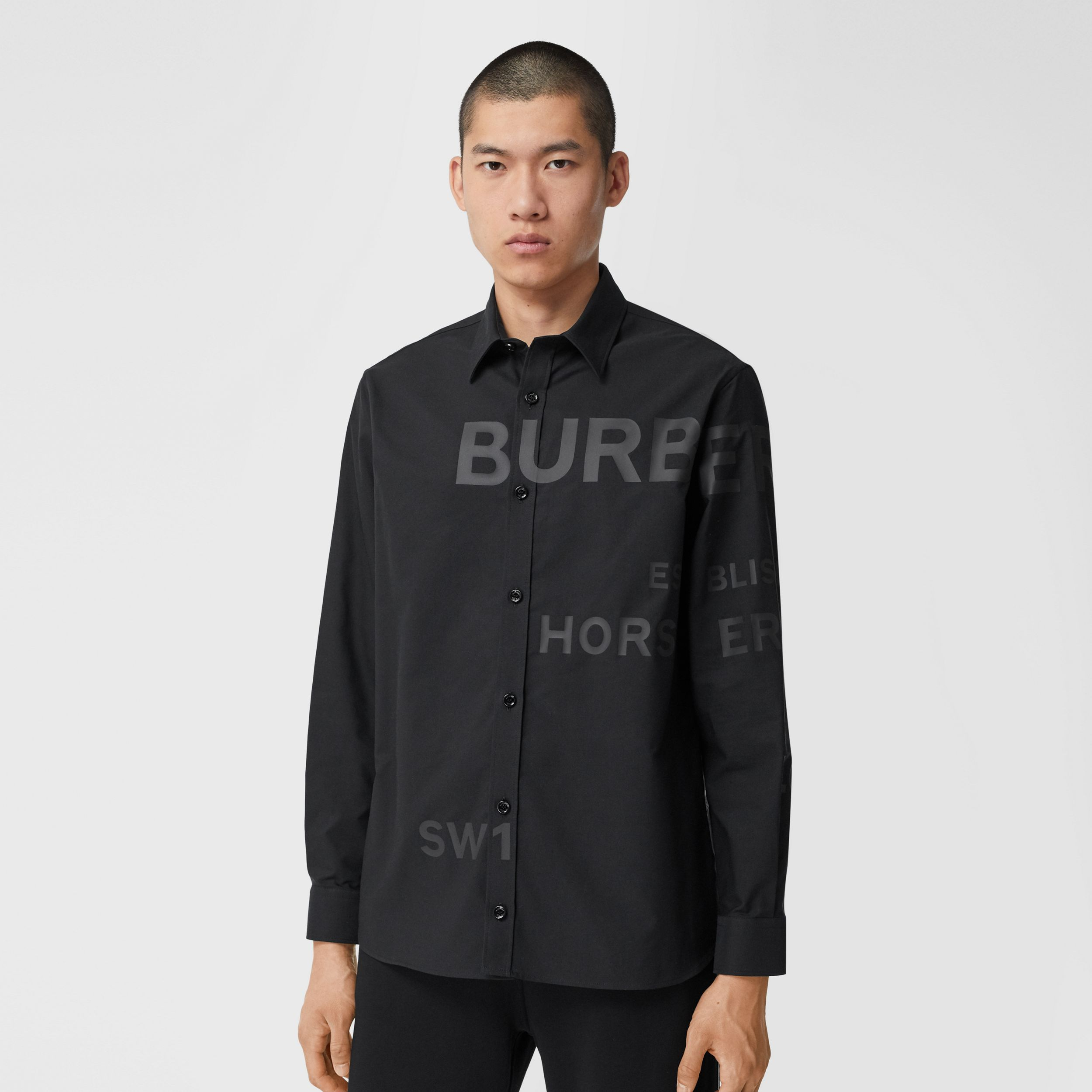 Horseferry Print Cotton Oxford Oversized Shirt in Black - Men | Burberry - 1
