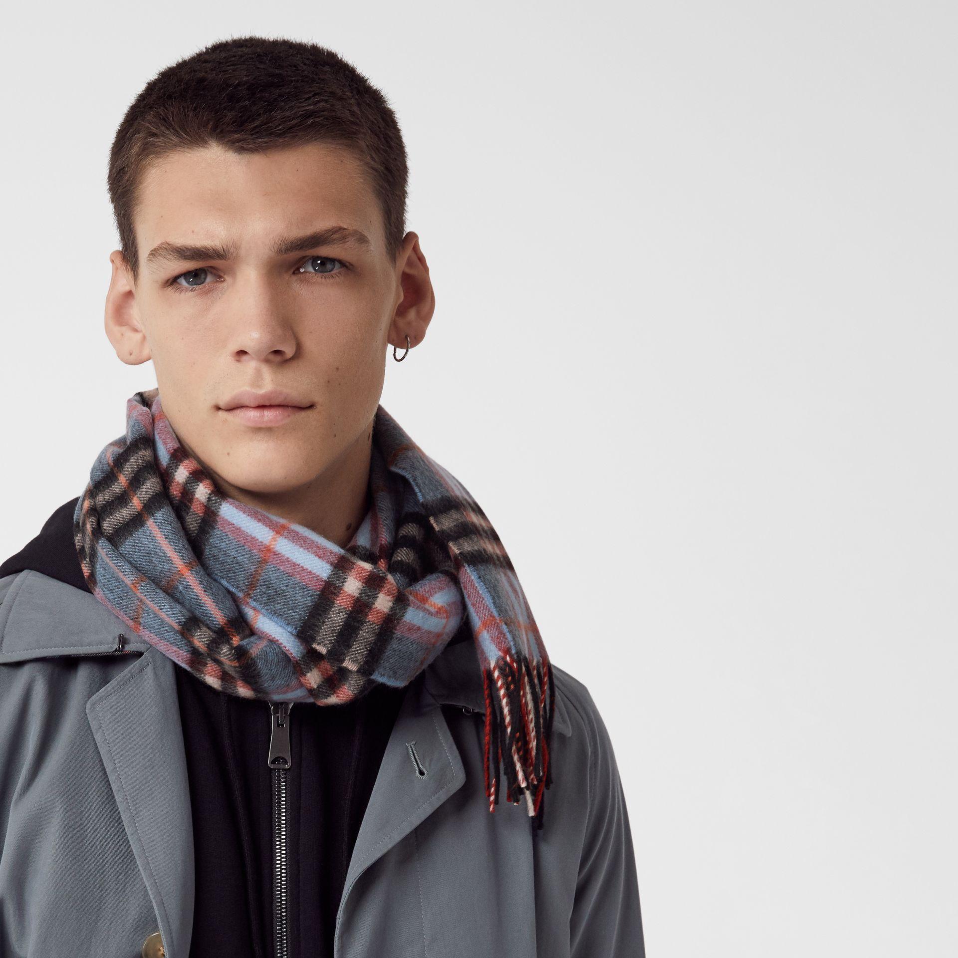 Check Cashmere Scarf in Pale Carbon Blue | Burberry United Kingdom - gallery image 5