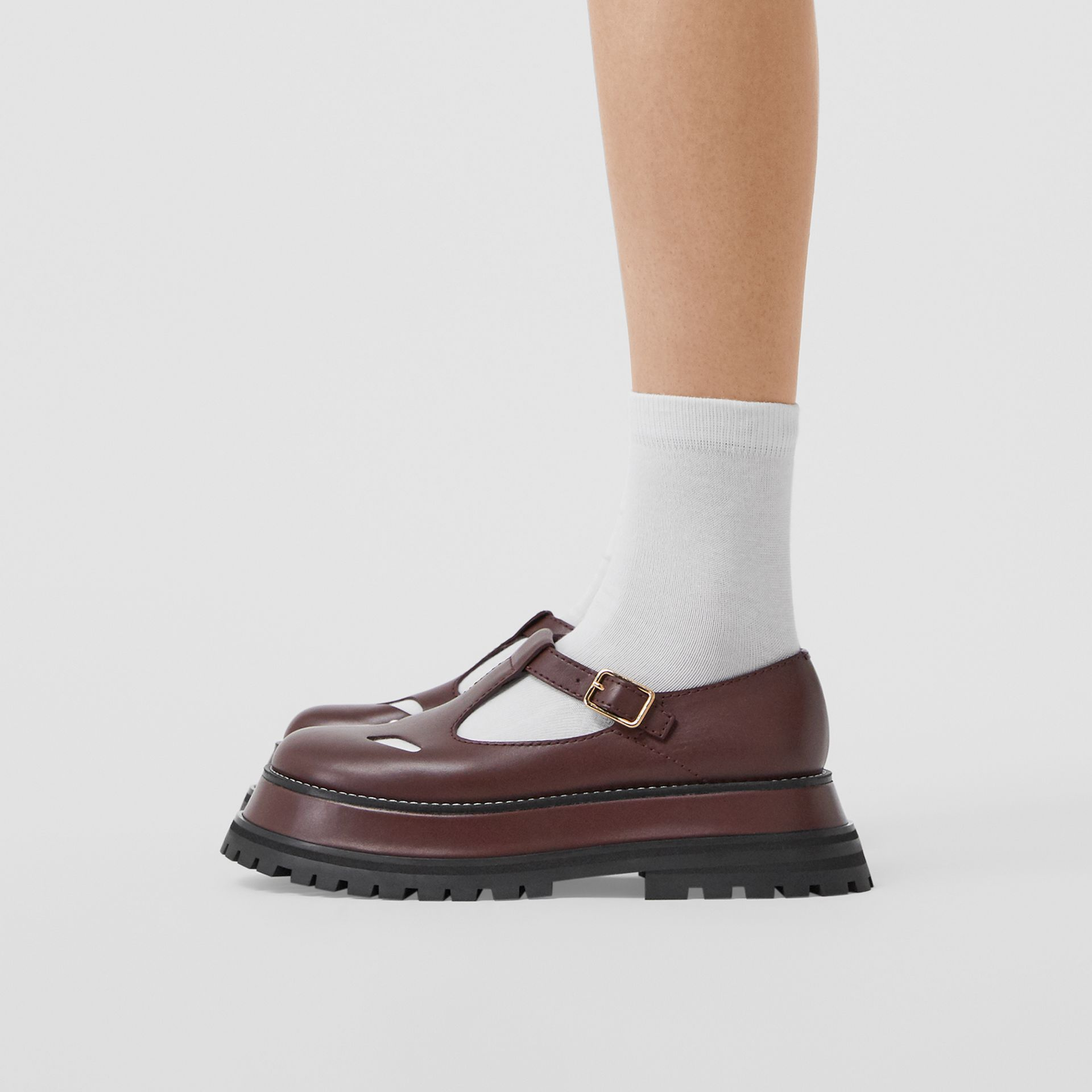 Leather T-bar Shoes in Bordeaux - Women | Burberry - gallery image 2