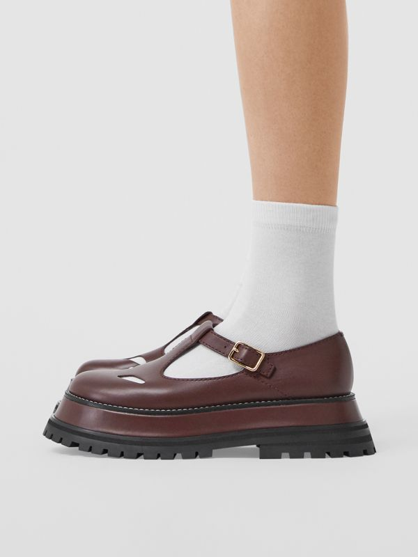 Leather T-bar Shoes in Bordeaux - Women | Burberry - cell image 2