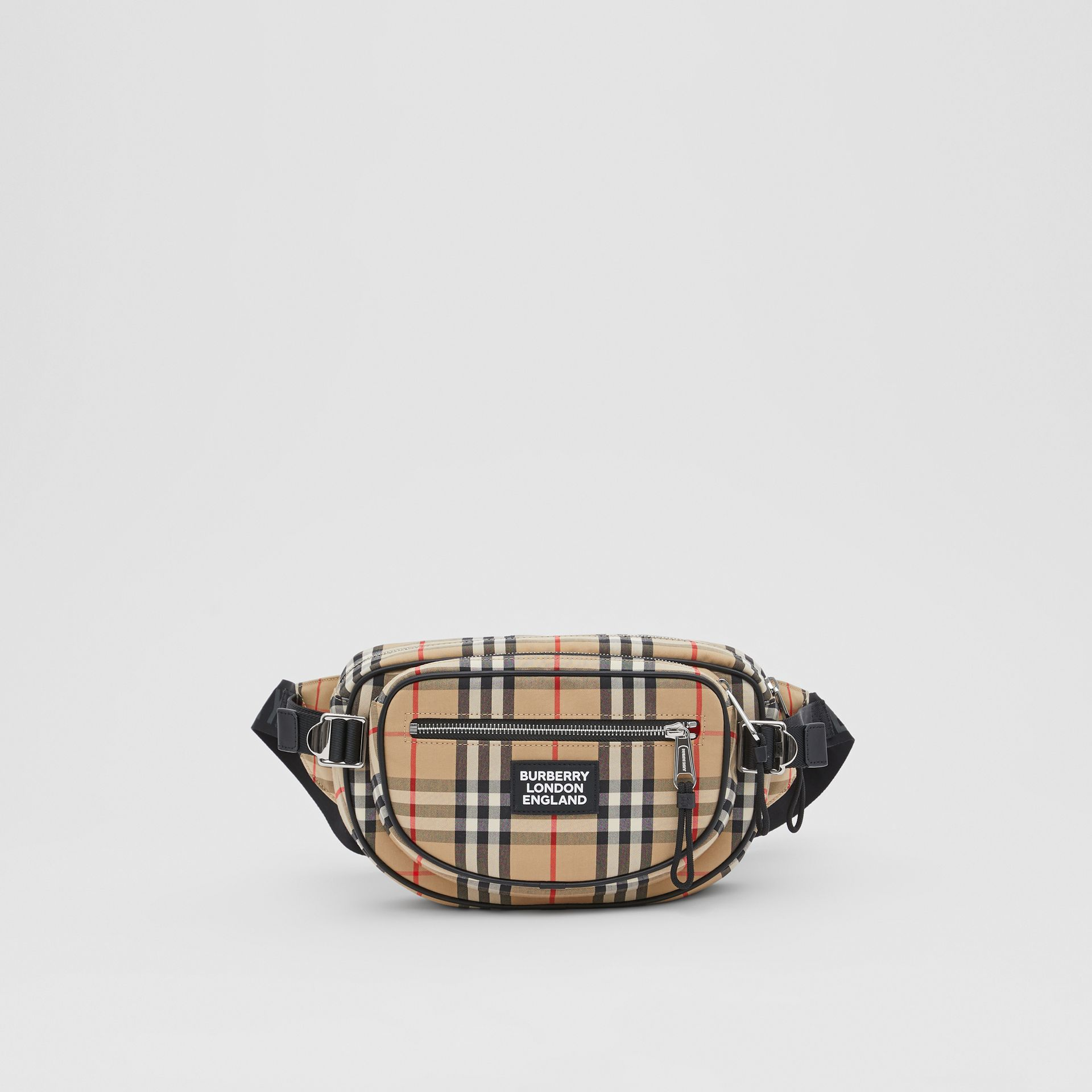 Medium Vintage Check Cotton Cannon Bum Bag in Archive Beige - Men | Burberry - gallery image 0