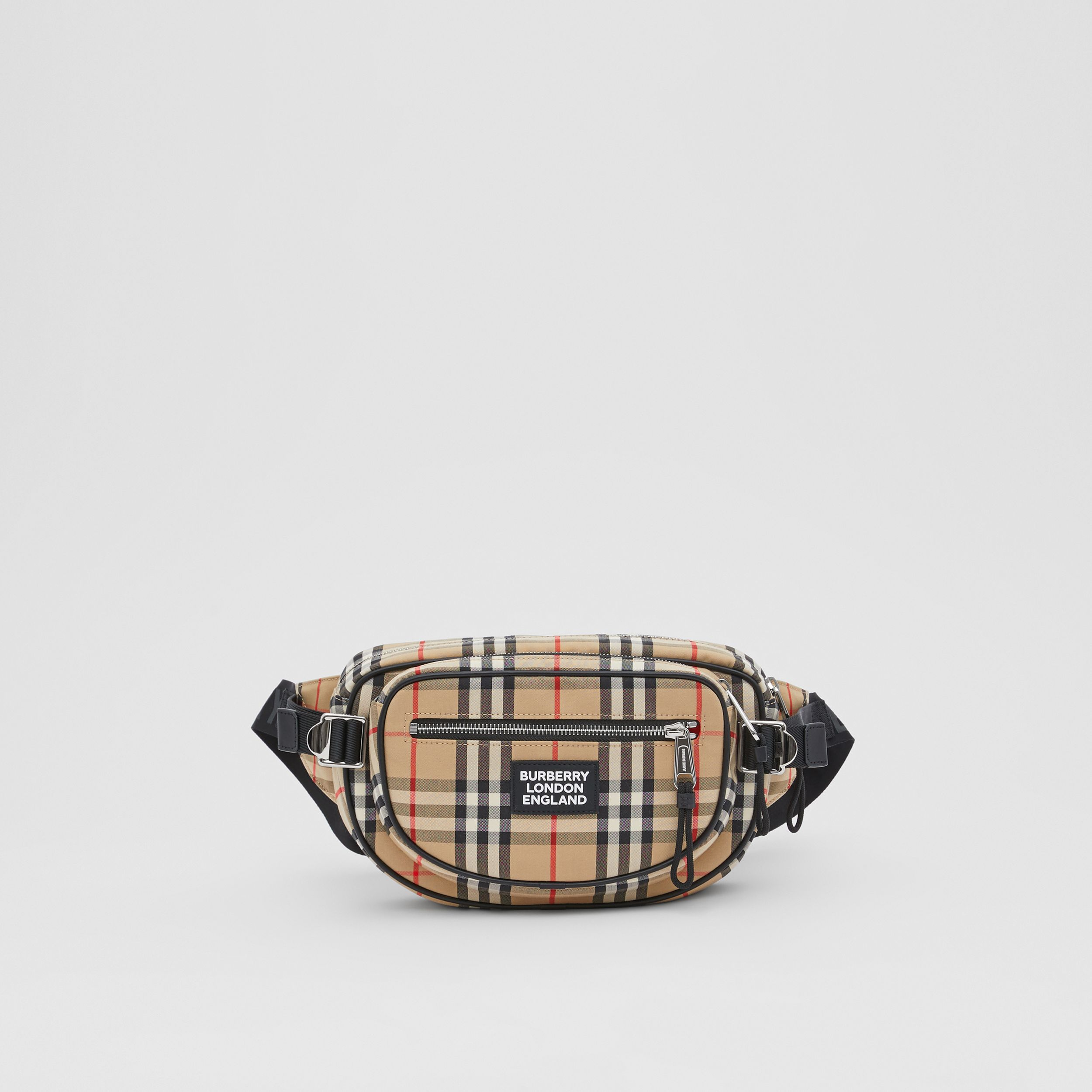 Medium Vintage Check Cotton Cannon Bum Bag in Archive Beige - Men | Burberry United Kingdom - 1