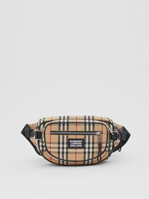 Medium Vintage Check Cotton Cannon Bum Bag in Archive Beige