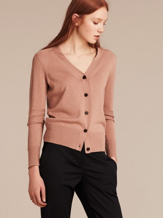 Cardigan in seta e lana con lavorazione a punto aperto Rosa Cenere Pallido