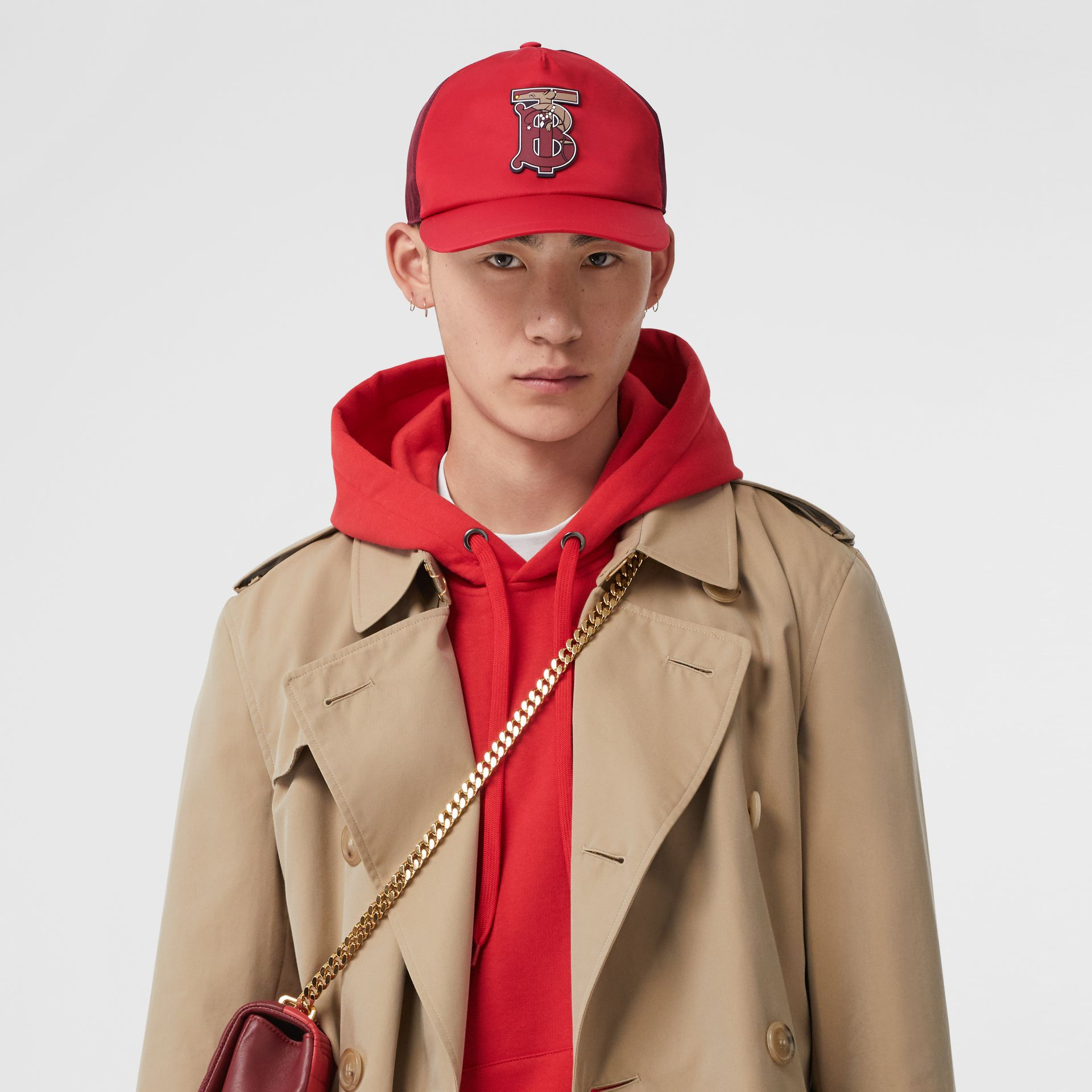 Monogram Motif Two-tone Baseball Cap in Bright Red | Burberry - gallery image 3