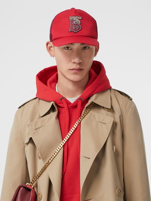 Monogram Motif Two-tone Baseball Cap in Bright Red | Burberry - cell image 3