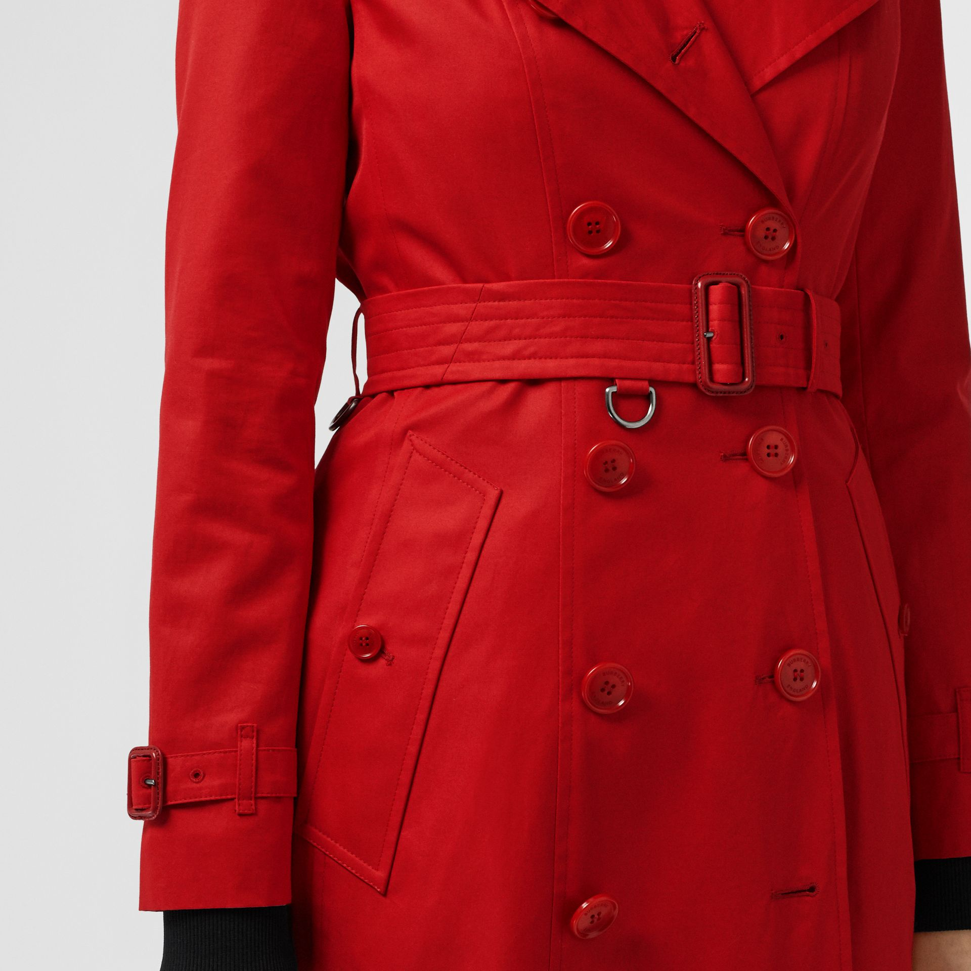 Cotton Gabardine Trench Coat in Bright Red - Women | Burberry - gallery image 4