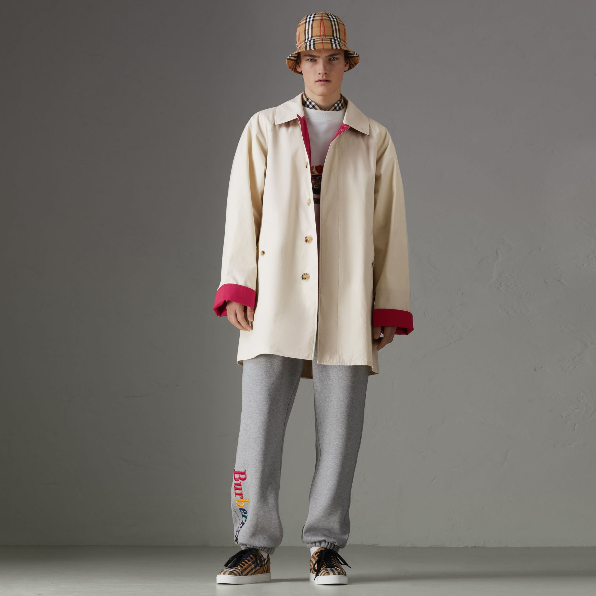 Reissued Waxed Cotton Gabardine Car Coat in Pale Stone - Men | Burberry Singapore - gallery image 0