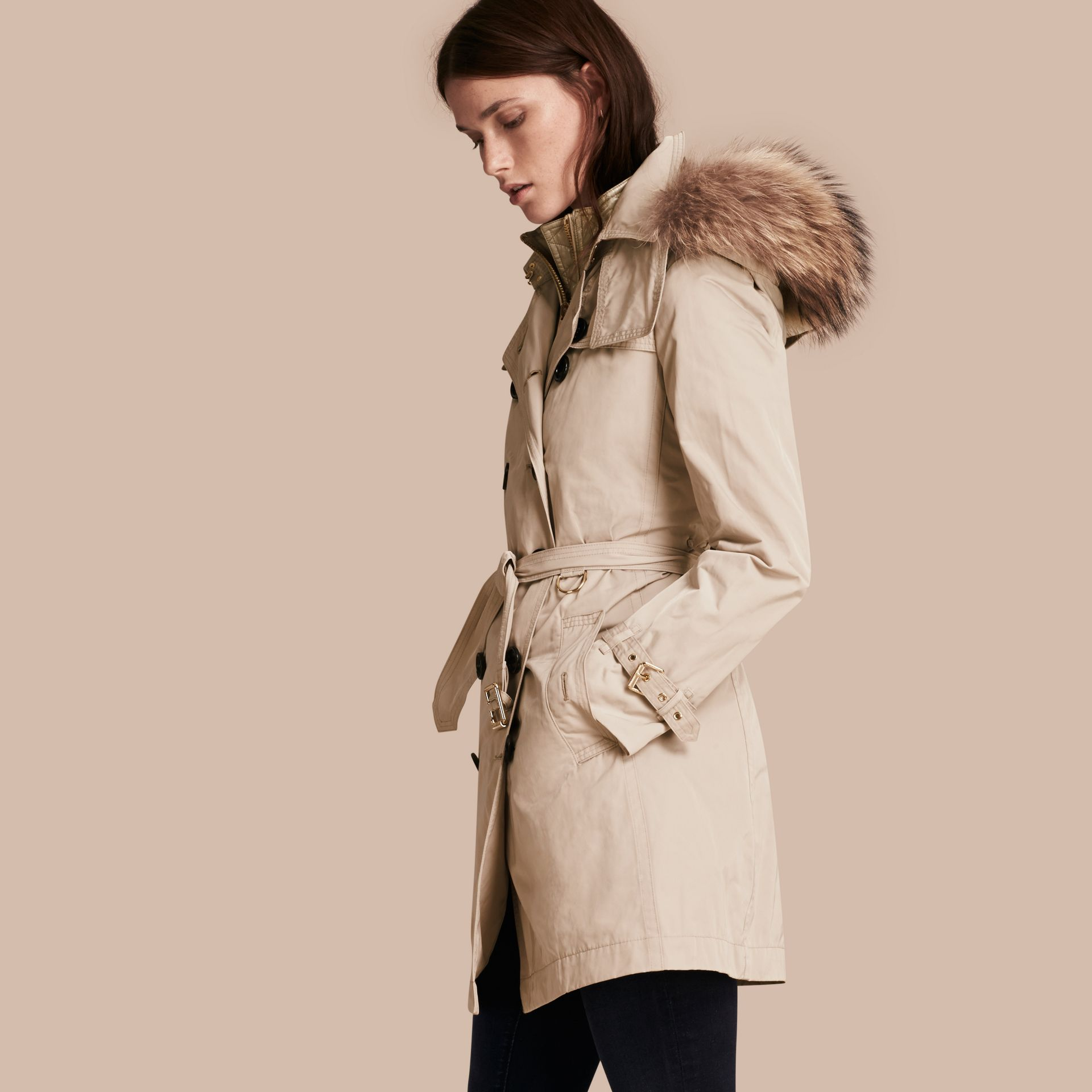 Stone Raccoon Fur Trim Hood Trench Coat with Gilet - gallery image 7