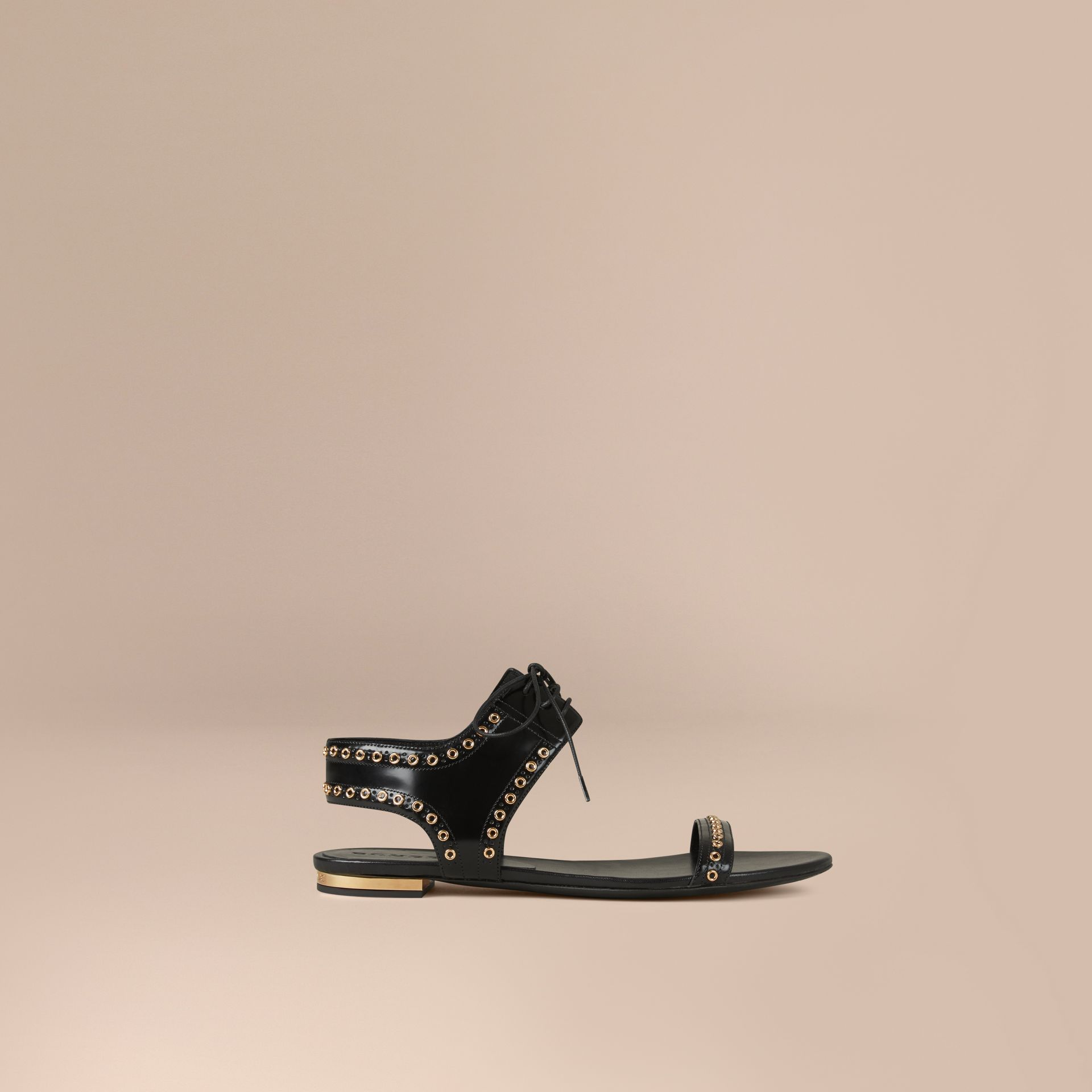 Black Online Exclusive Eyelet Detail Leather Lace-up Sandals - gallery image 1