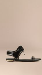 Online Exclusive Eyelet Detail Leather Lace-up Sandals