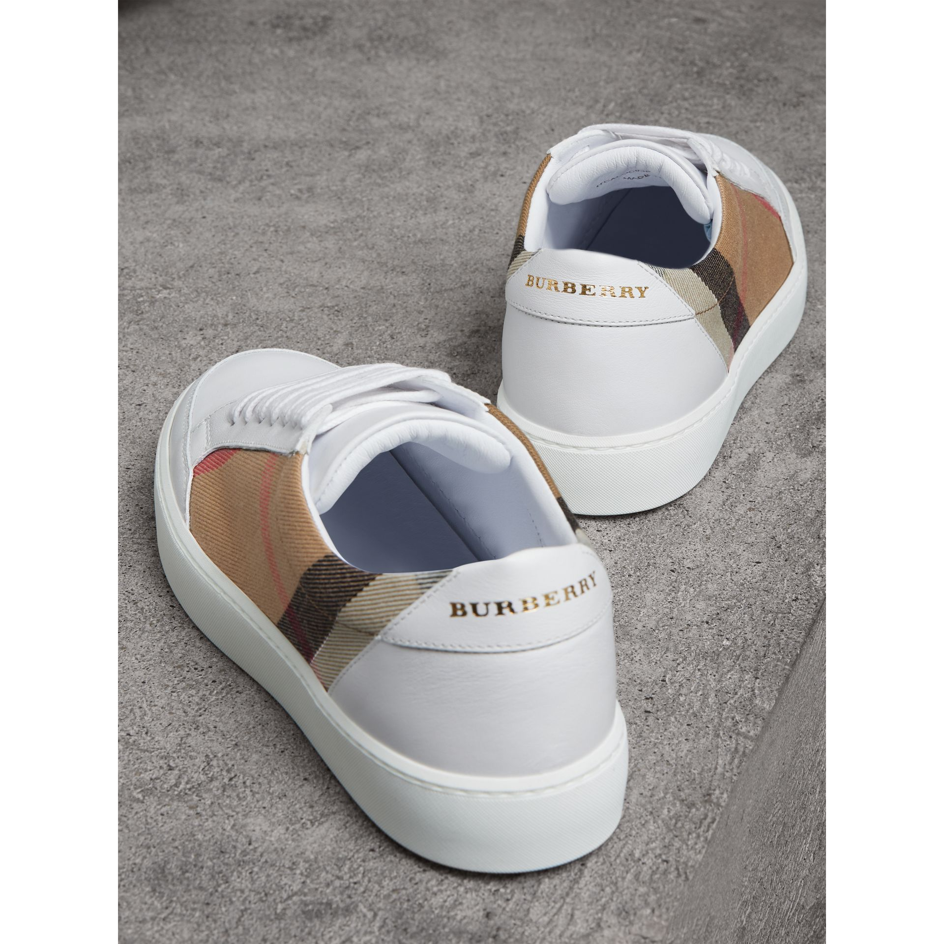 Check Detail Leather Trainers in House Check/ Optic White - Women | Burberry - gallery image 3