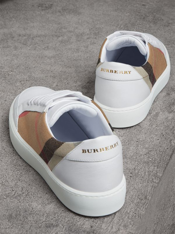 Check Detail Leather Sneakers in House Check/ Optic White - Women | Burberry - cell image 3