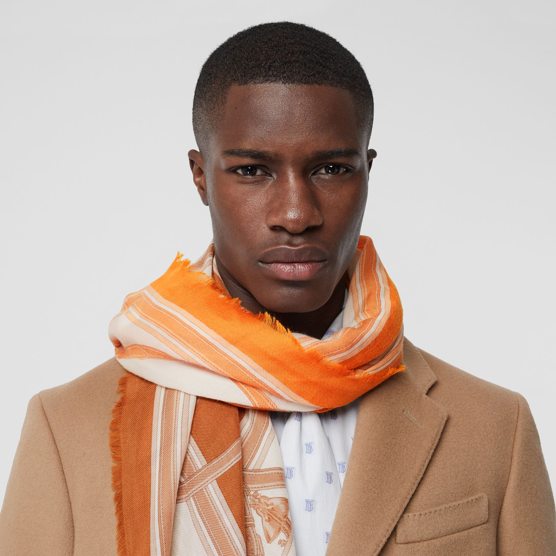 Archive Scarf Print Cashmere Large Square Scarf in Orange | Burberry United States - gallery image 3
