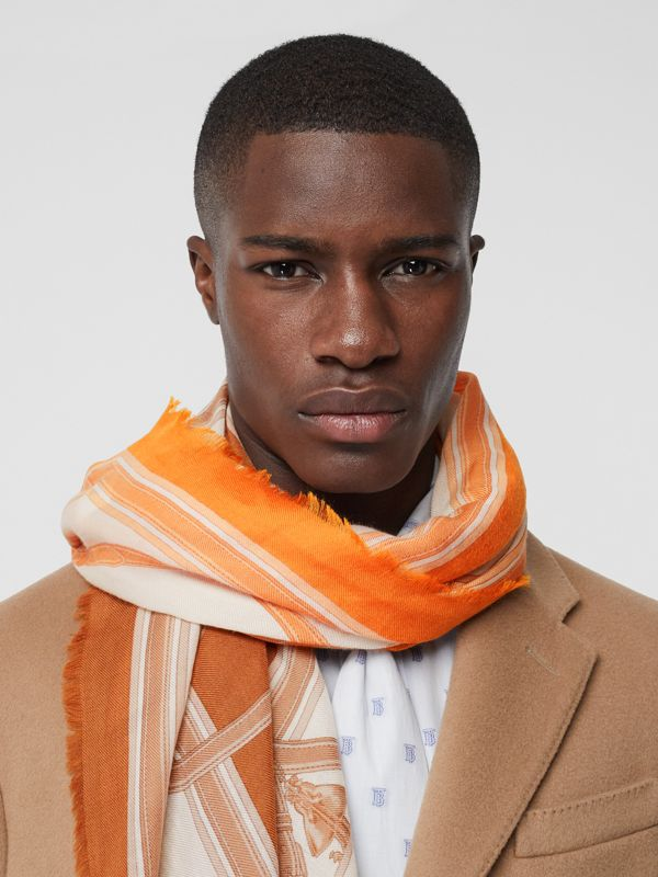 Archive Scarf Print Cashmere Large Square Scarf in Orange | Burberry United States - cell image 3