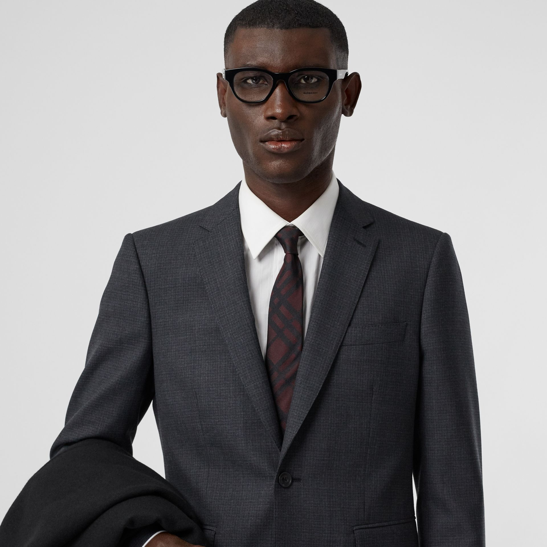 Classic Cut Check Silk Jacquard Tie in Oxblood - Men | Burberry - gallery image 2