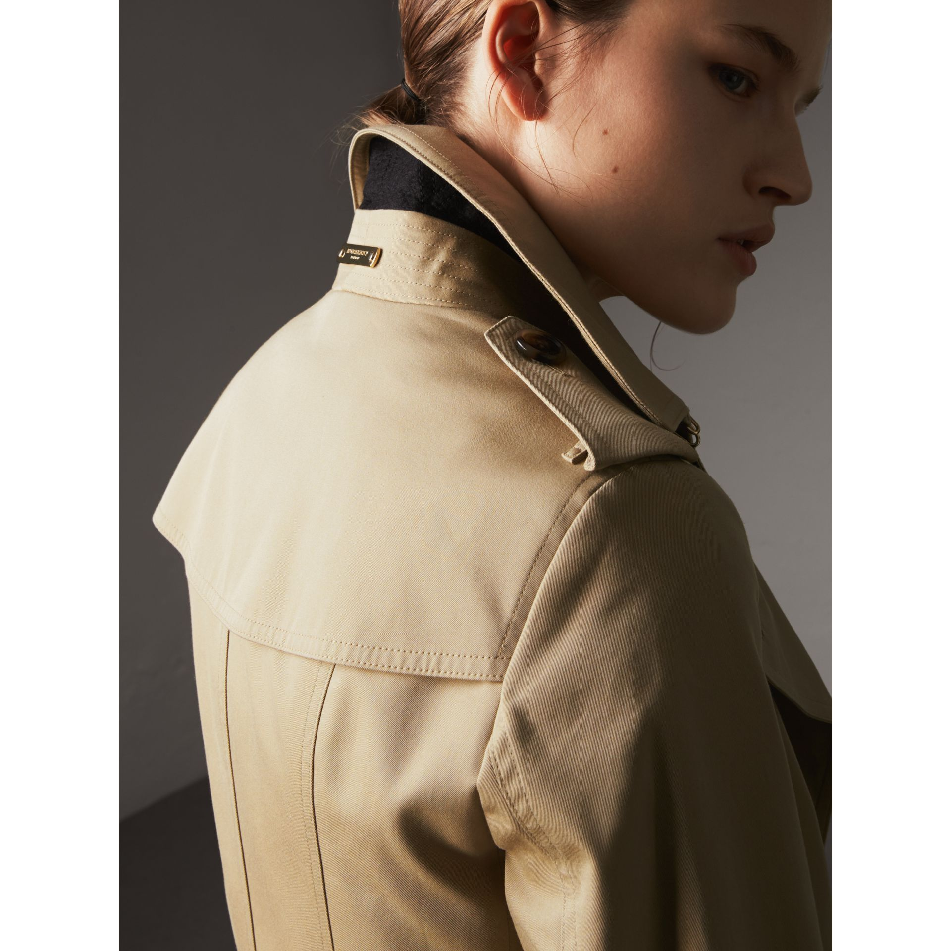 Leather Trim Cotton Gabardine Trench Coat in Honey - Women | Burberry Singapore - gallery image 5