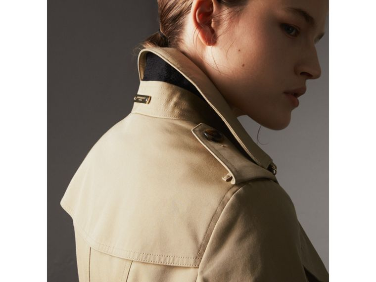Leather Trim Cotton Gabardine Trench Coat in Honey - Women | Burberry - cell image 4