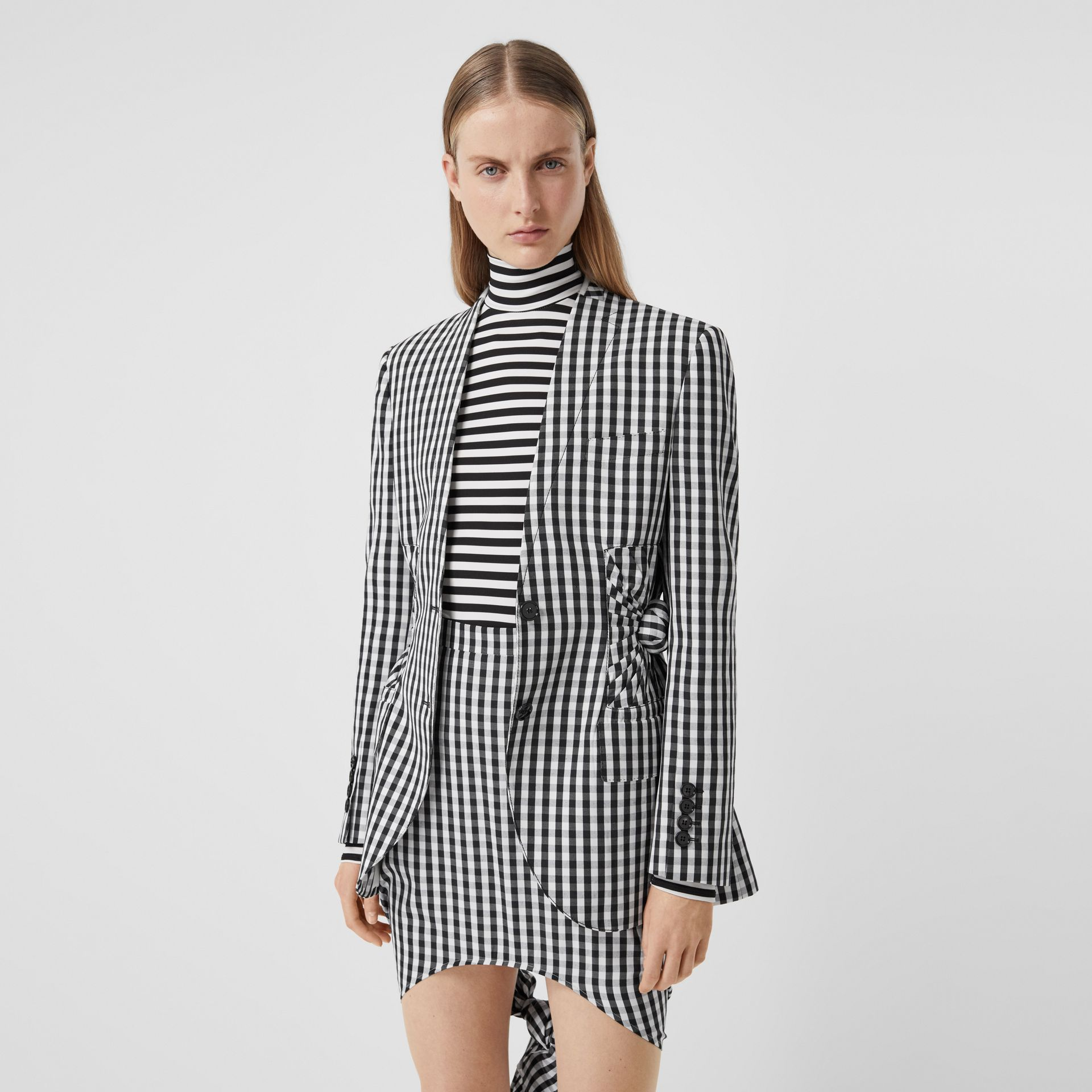 Gingham Technical Wool Blazer in Black - Women | Burberry - gallery image 0