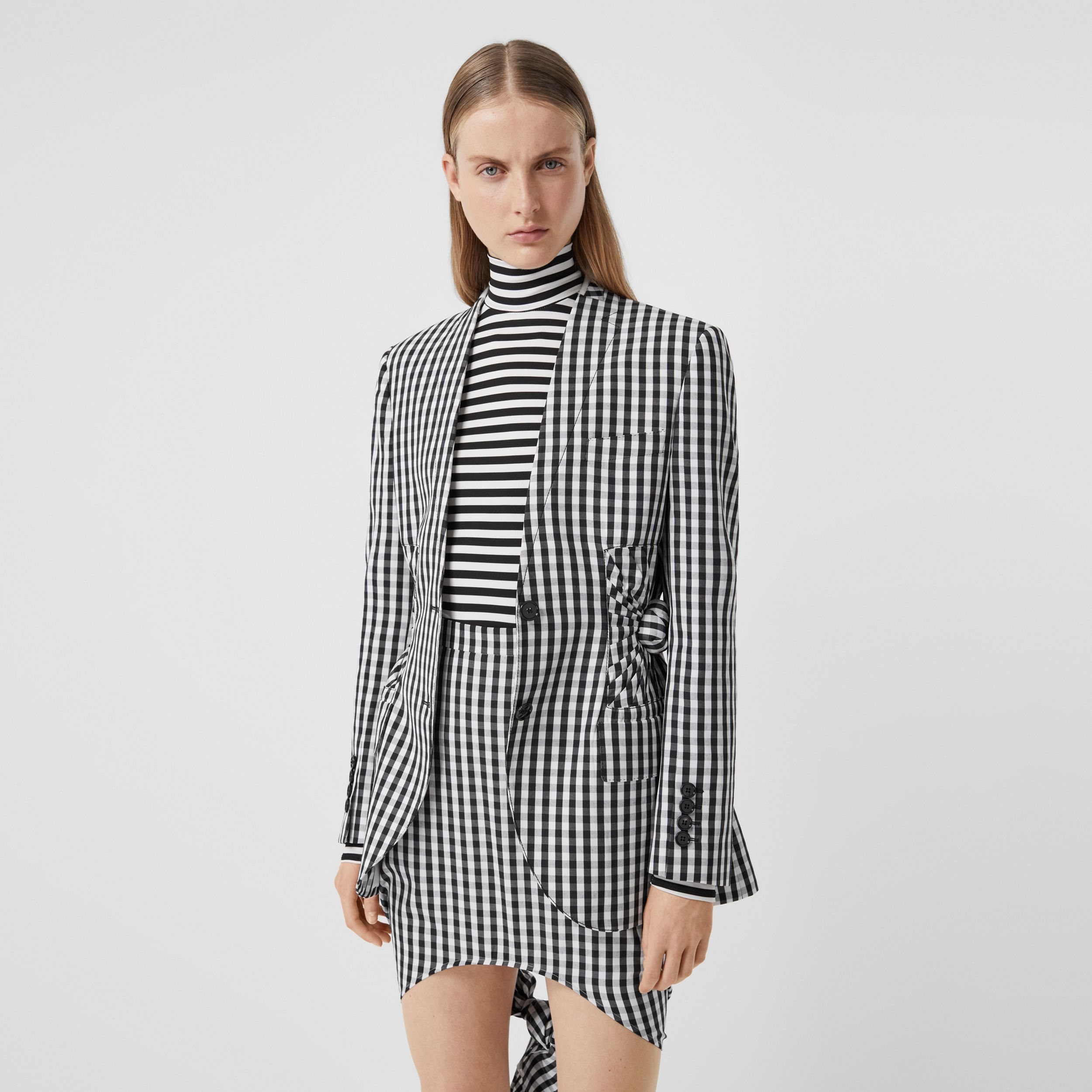 Gingham Technical Wool Blazer in Black - Women | Burberry - 1