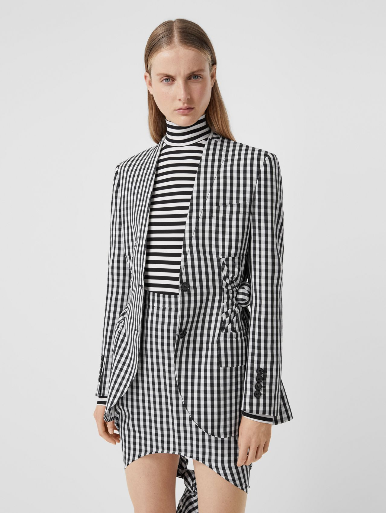 Gingham Technical Wool Blazer in Black