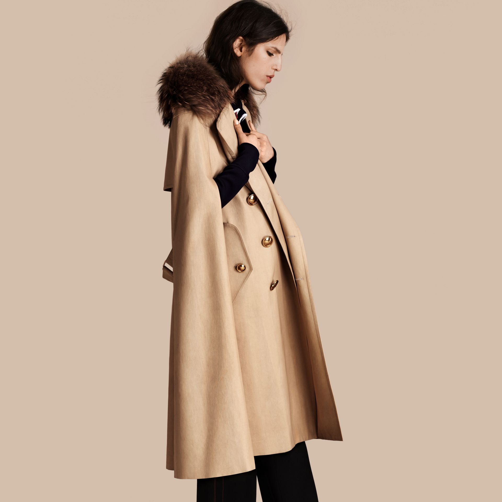 Honey Raccoon Collar Cotton Trench Cape - gallery image 1