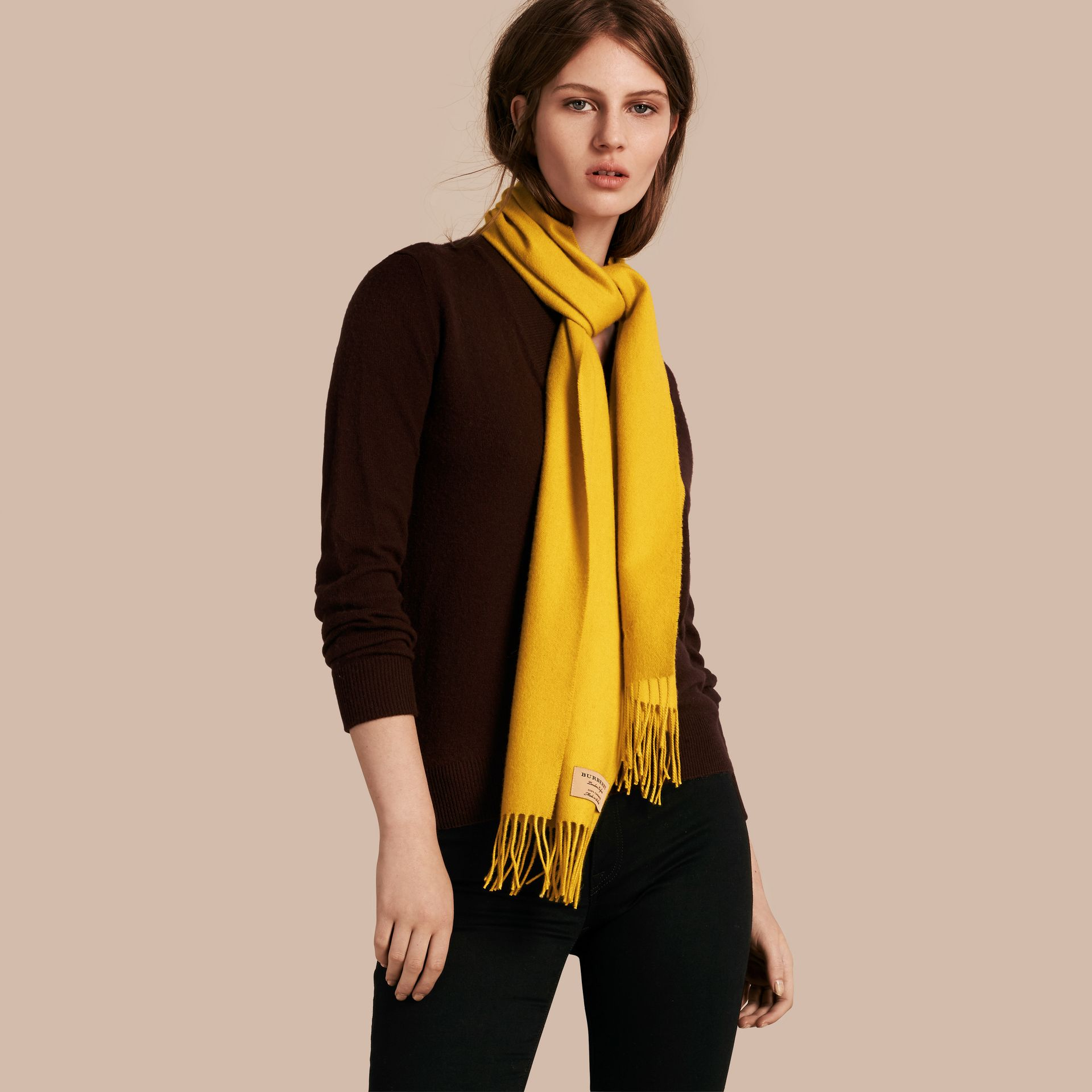 The Classic Cashmere Scarf in Gorse Yellow | Burberry Australia - gallery image 3