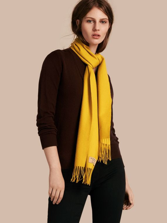 The Classic Cashmere Scarf in Gorse Yellow | Burberry Australia - cell image 2