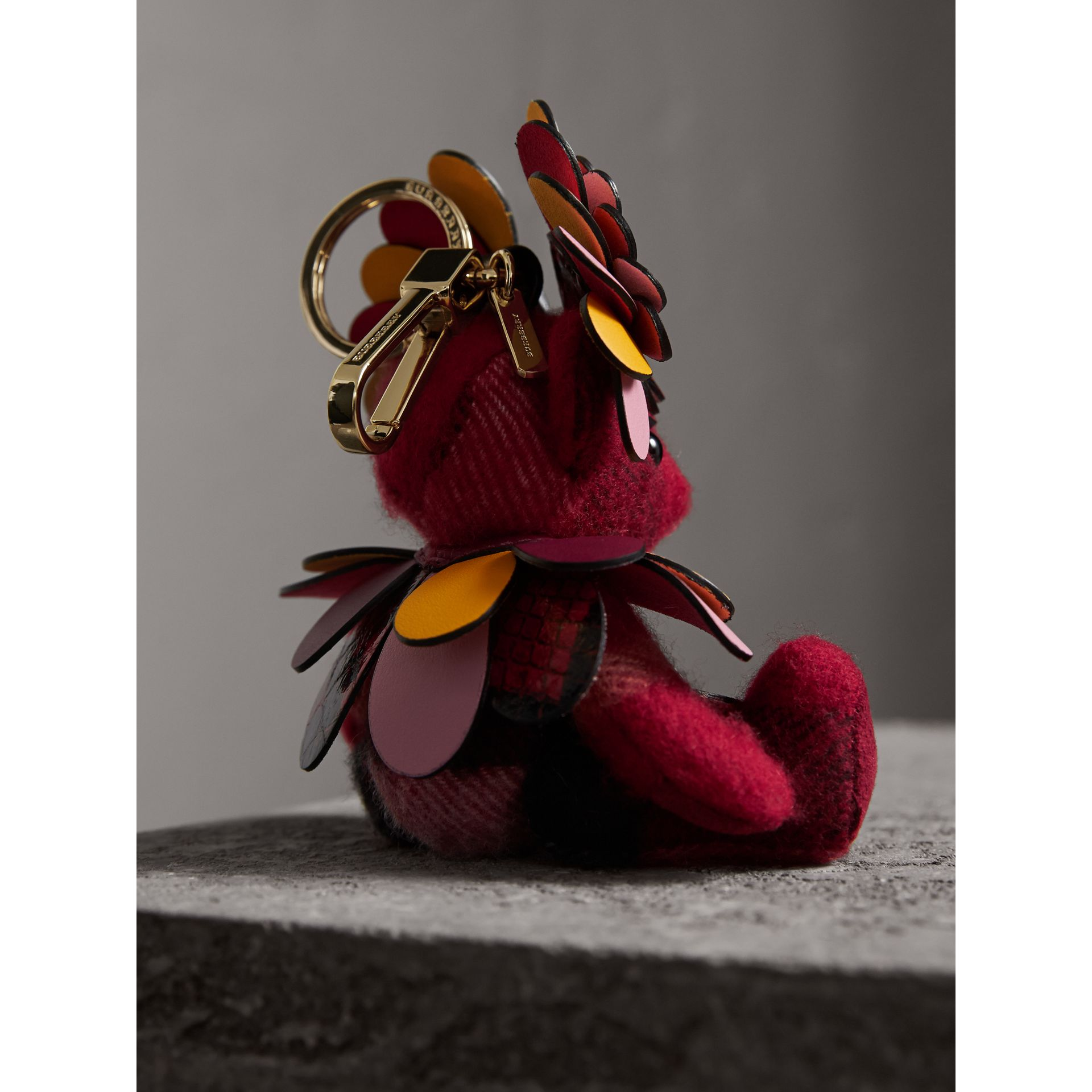 Thomas Bear Charm in Check Cashmere with Beasts Detail in Parade Red - Women | Burberry - gallery image 3