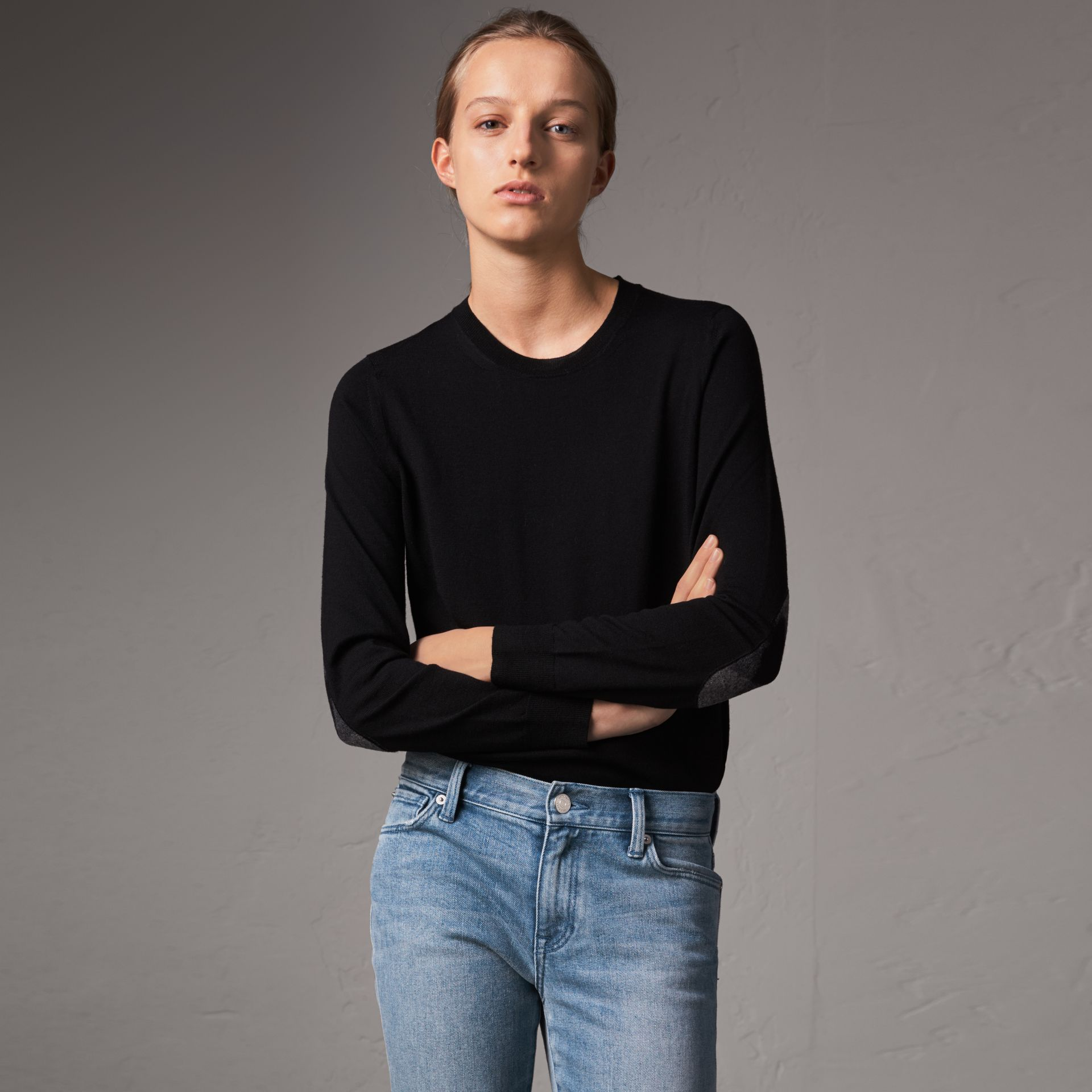 Check Detail Merino Wool Crew Neck Sweater in Black - Women | Burberry - gallery image 0