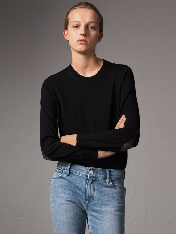 Check Detail Merino Wool Crew Neck Sweater in Black