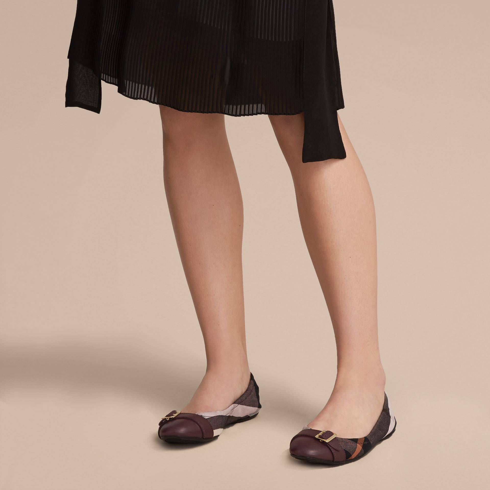 Check Linen Cotton and Leather Ballerinas in Antique Rose - Women | Burberry Canada - gallery image 3