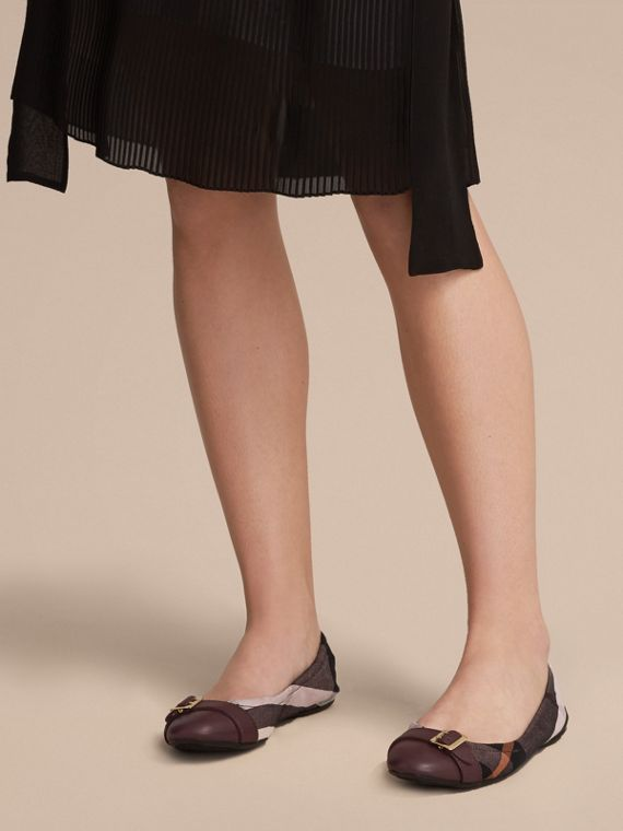 Check Linen Cotton and Leather Ballerinas in Antique Rose - Women | Burberry Canada - cell image 2