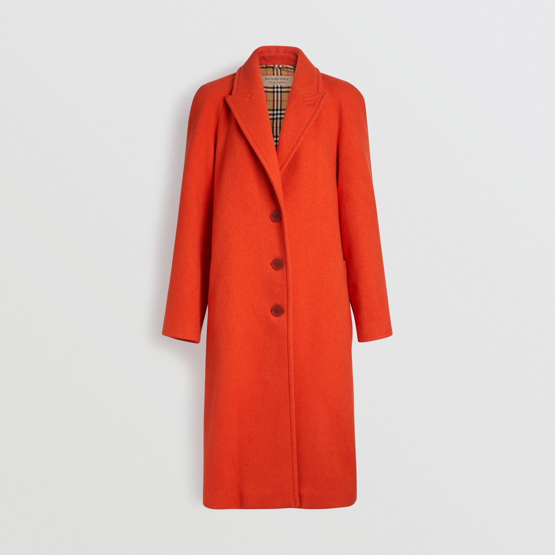 Wool Blend Tailored Coat in Bright Red - Women | Burberry - gallery image 3
