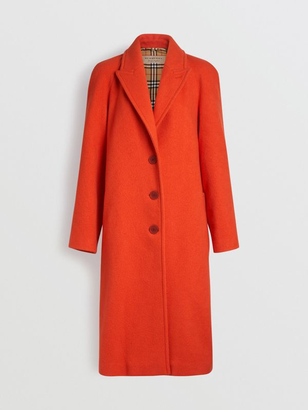 Wool Blend Tailored Coat in Bright Red - Women | Burberry - cell image 3