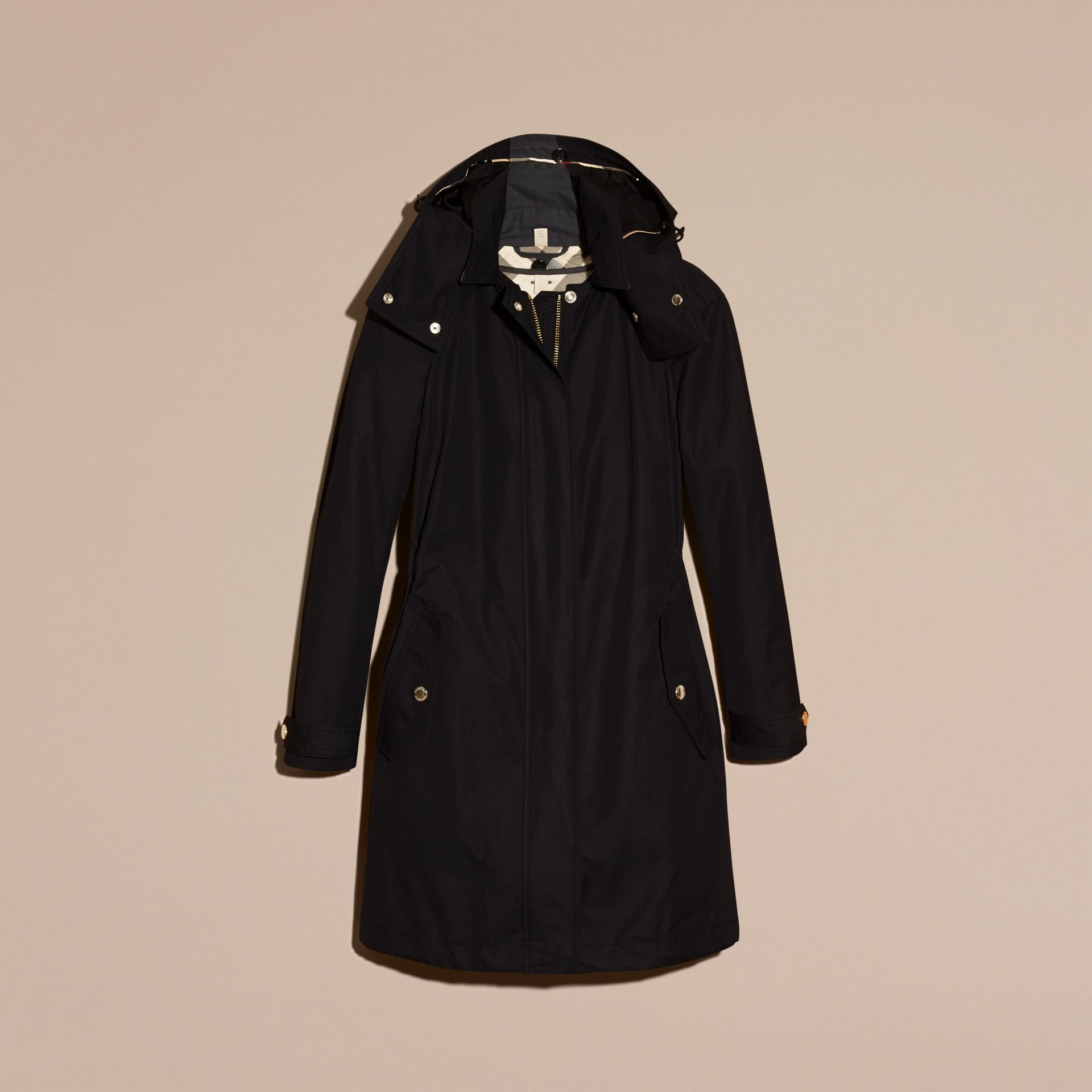 Black Hooded Cotton Blend Parka with Detachable Warmer Black - gallery image 4