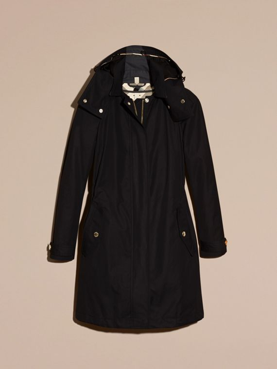 Black Hooded Cotton Blend Parka with Detachable Warmer Black - cell image 3