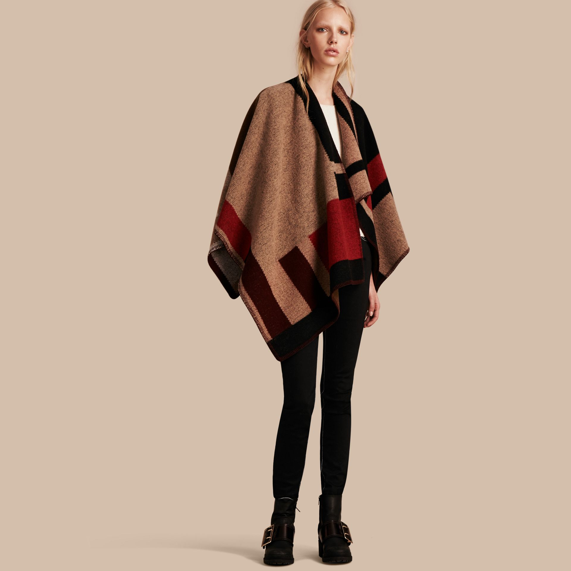 Camel Check Wool Cashmere Poncho - gallery image 1