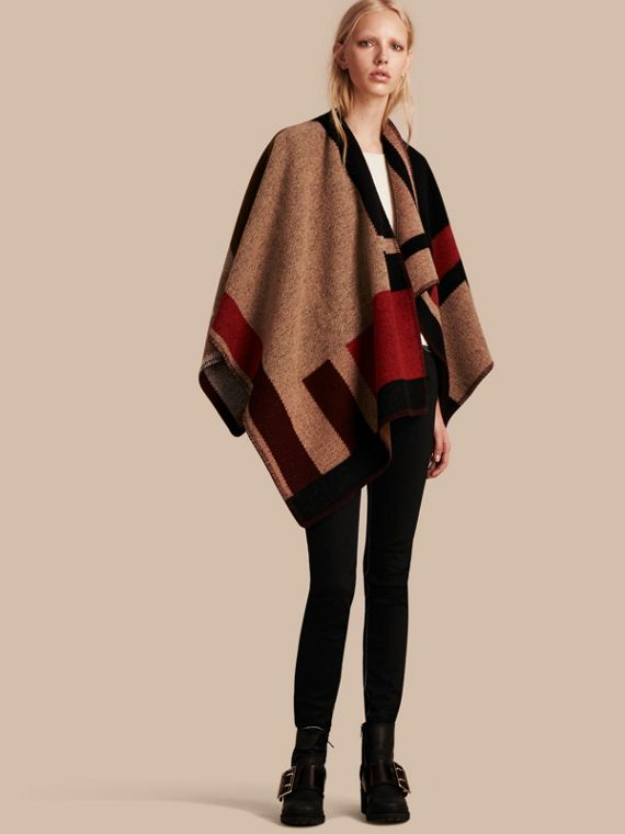 Check Wool Cashmere Poncho Camel