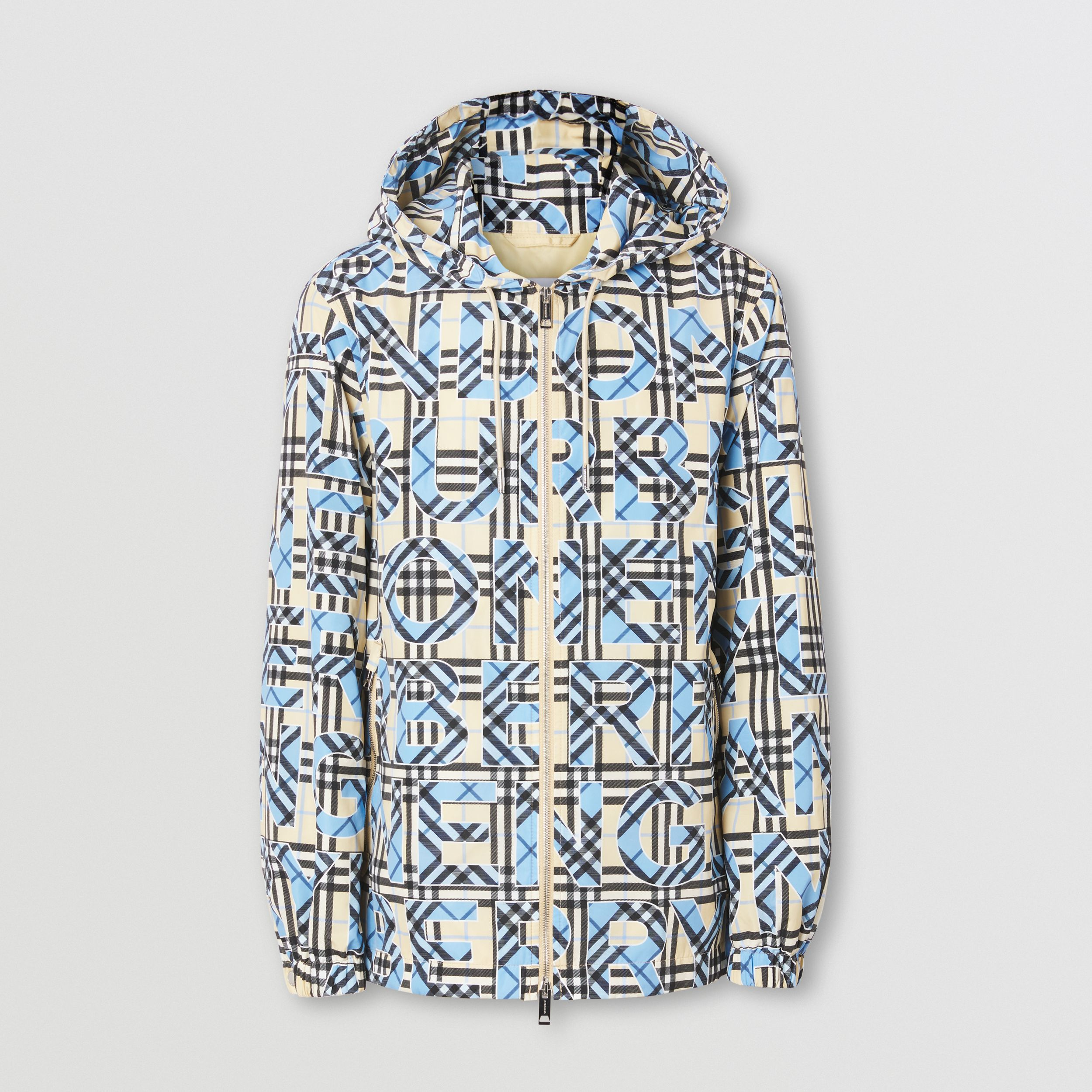 Logo and Vintage Check Print Hooded Jacket in Vivid Cobalt - Men | Burberry - 4