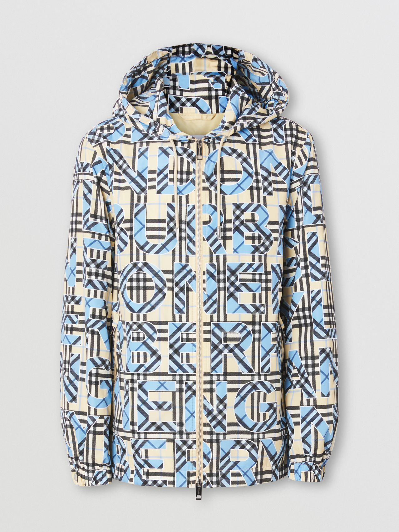 Logo and Vintage Check Print Hooded Jacket in Vivid Cobalt