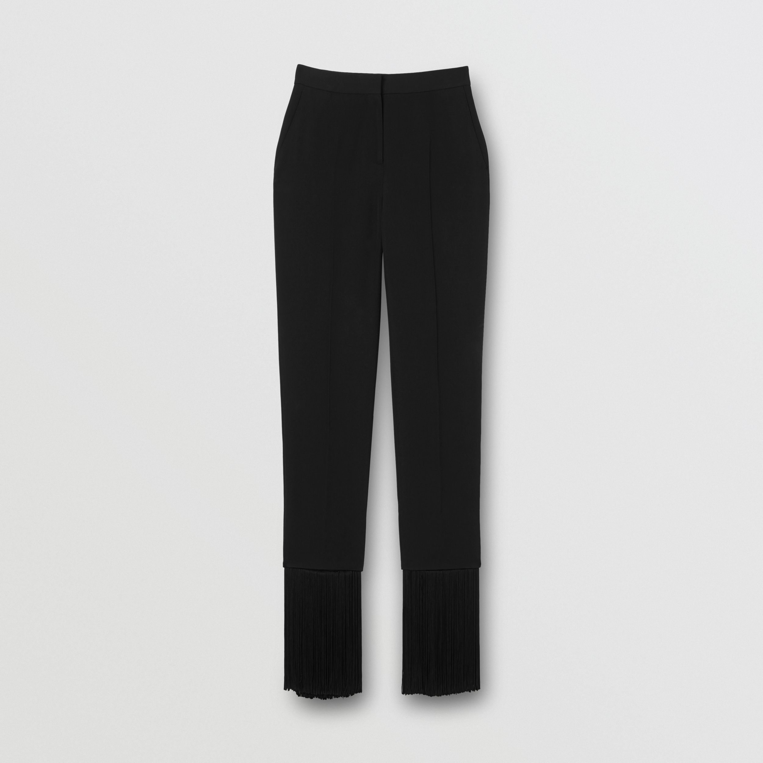Fringed Grain De Poudre Wool Tailored Trousers in Black - Women | Burberry - 4